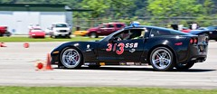 diving into the turn... (R.A. Killmer) Tags: black car race drive cone fast slide racing chevy driver autocross corvette c6 racer drift horsepower skill