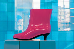 Boot - Explored, thanks!  No. 175 20/07/16 (jimj0will) Tags: boot pink shopdisplay blue heel glossy
