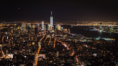Dowtown Manhattan by Night (Malick) Tags: 18 35mm america city d5200 dslr downtown empirestatebuilding lens lights manhattan newyork night nikon photography prime skyline skyscraper travel usa unitedstates winter worldtradecenter longislandcity