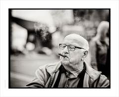 Tom Walsh, BEM  ...... Pentax 67: 110mm/f2.0 Hasselblad lens (Gary Rowlands) Tags: hasselblad 110mmfe pentax67 fujiacros100 hc110 salfordquays cigar smoker britishempiremedal bem portraitbw monochrome film 110mm imacon 848 scanner selfdeveloped oap streetportrait stranger zeiss planar bokeh f20 mf mediumformat bw analogue silver