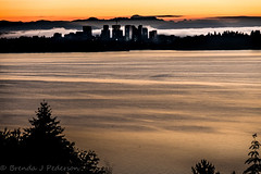 Good Morning, Bellevue (Culinary Fool) Tags: autumn washington equinox mist bellevue mtbaker cityscape 2016 seattle firstdayofautumn water i90 glassybaby 18135mm wa lakewashington dawn sunrise culinaryfool silhouette brendajpederson fog cascademountains skyline lightthebridge september