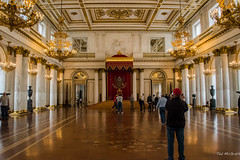 2016 - Baltic Cruise - St. Petersburg - Hermitage 18 (Ted's photos - For Me & You) Tags: 2016 cropped tedmcgrath tedsphotos vignetting russia stpetersburg hermitage stgeorgehal stgeorgehalhermitage hermitagestgeorgehal ussr unesco unescoworldheritagesite unescoworldculturalcentre hall throne urns columns people peopleandpaths chandeliers ornate room stgeorgeshall hermitagestgeorgeshall
