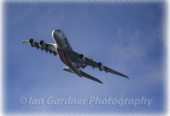 EMIRATES BANKING (IAN GARDNER PHOTOGRAPHY) Tags: emirates airbus a380 aircraft airliner arab aeroplane banking bank flying airbourne midair flight autofocus
