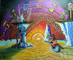 THE INDIAN CHIEFS DREAM. (tomas491) Tags: tomasljunggren indianchief rabbit orange sun orangejuice bridge totempole pariswheel wigwam indiantent canot shoes umbrellas people piecepipe stonedindian fantasy surreal campfire