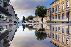 Street reflection (explored) (jpw81) Tags: reflektion reflection spiegelung mirror street streetphotography morning sunrise wideangle sonya7 germany arnsberg