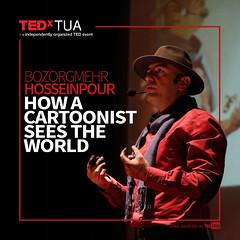 Bozorgmehr Hosseinpour (TEDxTUA) Tags: tedx tedxtua beyondnormality tedxtalk talks2016 bozorgmehrhosseinpour cartoon cartoonist drawing