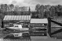 Old Find (azcangal) Tags: canada water vancouver canon river eos boat bc britishcolumbia shed barge abaondoned t5i canoneost5i