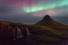Kirkjufell Aurora / Northern Lights (stevoarnold) Tags: longexposure sky mountain green night waterfall iceland purple aurora kirkjufell northernlights grundarfjrur