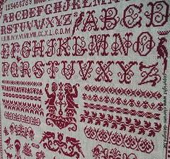 Sampler a l'ancienne4 (ingrid.germonprez) Tags: chart monochrome vintage crossstitch sampler embroidery letters needlepoint abc alphabet grille pointdecroix motifs handwerk costura broderie alfabet patroon borduren vorlage xstitch crossstitching borduurwerk fiche puntocroce kreuzstich sajou merklap kruissteek abécédaire rodekruissteekmerklap marquoirrougepointdecroix redcrossstitchsampler rotekreuzstichmustertuch sajoualphabet