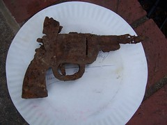 rusted pistol dead toy (trepelu) Tags: toy found lost rust buried rusty pistol