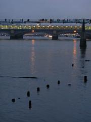 Spots at dusk (shaggy359) Tags: bridge light people reflection london water thames river walking lights evening post dusk walk bridges millennium walker pedestrians blackfriars posts wpedestrian