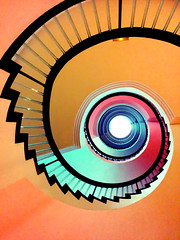Spiral Staircase (5ERG10) Tags: ocean pink summer orange holiday abstract sergio yellow mobile architecture stairs spiral island spain europe purple 5 perspective shapes atlantic staircase tenerife hotels colourful canaryislands leading nexus spirale the the hotelbotanico world puertodelacruztenerife amiti 5erg10