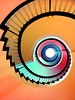"""Spiral Staircase (5ERG10) Tags: ocean pink summer orange holiday abstract sergio yellow mobile architecture stairs spiral island spain europe purple 5 perspective shapes atlantic staircase tenerife hotels colourful canaryislands leading nexus spirale the """"the hotelbotanico world"""" puertodelacruztenerife amiti 5erg10"""