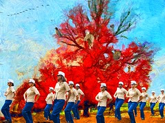 Really Red Tree, Birds, and Marchers (Rusty Russ) Tags: red people color tree birds composite photoshop magazine t creativity photo yahoo blog google paint flickr pin all image artistic creative young photographers commons manipul