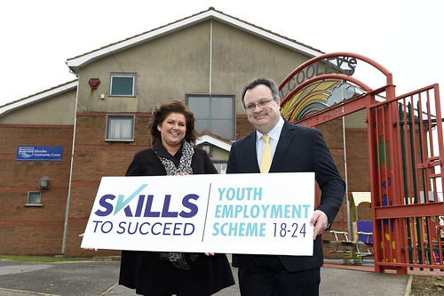 Employment and Learning Minister Dr Stephen Farry pictured with Stephanie Griffiths, Employability Training Coordinator, South Eastern Health and Social Care Trust at the launch of Bangor YES Work Placement event.
