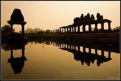 Pushkarini (Pond) @ Hampi  ~ EXPLORED #9 (25-Nov-2014) (ujjal dey) Tags: india reflection silhouette sunrise karnataka hampi ujjal puskarini ujjaldey