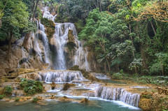Kuang Si Falls (shutterdiscovery) Tags: travel blue trees tourism nature water swim canon see waterfall big si falls clear foam dslr capture must laos hdr luangprabang kuang luang prabang natrual beautfiul shutterdiscovery