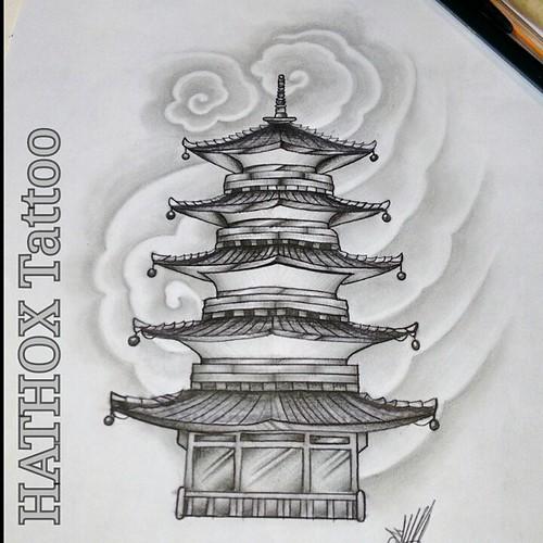estudos templo oriental temple pagoda faith illustration
