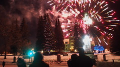 Banff New Years Eve Fireworks (Wilson Hui) Tags: canada nationalpark fireworks olympus christmastree christmaslights celebration alberta newyearseve banff newyears parkscanada canadaflag newyearcelebration 2015 administrationbuilding parcscanada olympusem5 olympus17mmf18
