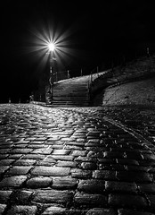 Whitby Stairway (David Ball Landscape Photography) Tags: uk longexposure greatbritain england art night digital canon reflections dark landscape photography coast blackwhite outdoor patterns yorkshire steps whitby cobbles iconic northyorkshire 199 monocrome visityorkshire