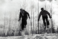 Two skiers are on the practice slope of Anvil Lake Ski Trail in Wisconsin (USDAgov) Tags: utah colorado forestry fs whiterivernationalforest nationalforests snowrangers