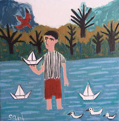 "#1320 ""Paper Boats"" (sariart2) Tags: boy red lake seascape abstract bird art paper landscape boats acrylic raw folk outsider ooak ducks naive sari tress primitive childlike azaria noy origianl paibing"