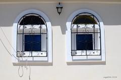 ...Twin... (cegefoto) Tags: blue windows shadow white lamp fence blauw symmetry greece ramen schaduw wit griekenland hekwerk symmetrie 116picturesin2016