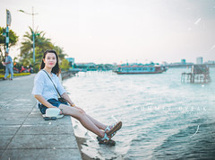 Summer Break (HuyDesignvn) Tags: summer portrait tree beach water girl beautiful river boat ship palm wanderlust vietnam palmtree beautifulgirl quangbinh donghoi