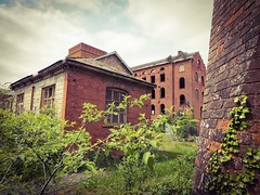 Mill Buildings (Hammerhead27) Tags: old chimney plants building brick mill abandoned broken window overgrown industrial factory view decay olympus pump forgotten area derelict restricted urbex tonedale