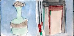 irgendwo war eine Tr aufgegangen. Wer wrde herein kommen oder wrde jemand verschwinden (raumoberbayern) Tags: auto city pink winter bus fall smart car pencil paper munich mnchen landscape herbst tram sketchbook stadt papier landschaft bleistift robbbilder skizzenbuch strasenbahn