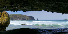 A different perspective on Sandwood Bay (McRusty) Tags: sea wild panorama detail beautiful sunshine bay scotland rocks waves different outdoor rocky cliffs stack sutherland viewpoint amongst sandwood