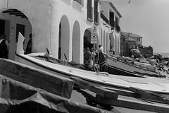 Mediterranean vermout (davidgarciadorado) Tags: blackandwhite beach rolleiflex boats fishing spain girona 120film calelladepalafrugell kodaktmy400 zeissplannar