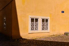 Secret Corner (Tanya.Kirilova) Tags: street windows shadow urban geometric window composition prague geometry faades prag praha shade ochre shape faade urbanphotography geometrie urbanabstract urbantexture cobblestreet