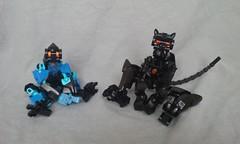 Feline Noire V2 (ohlookitsanartist) Tags: cat feline noire bionicle own creation moc lego black armor paws tail ears orange ccbs cute robot neko robotic beast girl similar blue azure