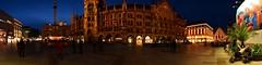 Munich - Marienplatz Panorama (cnmark) Tags: new city blue light architecture night germany munich mnchen deutschland hall cathedral symbol famous gothic style landmark hour architektur historical rathaus iconic frauenkirche neues revival historisch stil neugotisch allrightsreserved