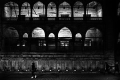 Night looks good on her (zgr Grgey) Tags: street shadow bw architecture contrast 35mm evening lowlight nikon geometry arc istanbul d750 2016 eminn yenicamii dxonfx