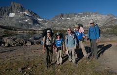 Group Photo, Start of Day 2 (deanwampler) Tags: sierras bannerpeak mtdavis thousandislandlake anseladamswilderness jmt johnmuirtrail