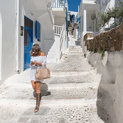 The Stairs (Ron Scubadiver's Wild Life) Tags: girl woman nikon candid street style outdoors mykonos greece 20mm stairs gladiator sandals