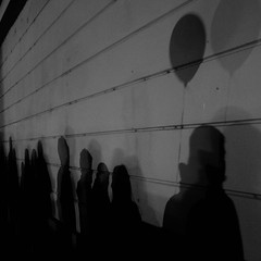 Shadow Line (Chris in Czech) Tags: blackandwhite monochrome outdoor prague balloon line queue wall shadow night