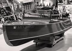 Rare Runabout on Display (LJS74) Tags: glennhcurtiss curtissmuseum antiqueboat woodenboat runabout jamestownrunabout museum fingerlakes hammondsport blackandwhite bw monochrome sepia