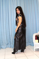 With Boots (johnerly03) Tags: erly philippines filipina asian fashion leather skirt knee length high heel black boots long hair side split