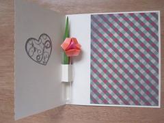 Bloemetje in vaasje -open- (Marjan 8) Tags: flower paper origami stickers card vase paperfolding vaas bloemetje