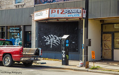 Corrugated (Vic Zhivago) Tags: geometric sign truck graffiti flickr quebec geometry montreal urbandecay pizza storefront juxtaposition closedstore textandimage