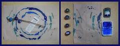 """an apple a day keeps the doctor away - An ENSO (Japanese: circle, kreis) a Day ..."" 22. November 2014: Cotton from Supermarket ""Merkur"" - Baumwolle - Blau: aquamarin karibik azur pariserblau enzian"