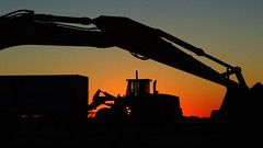 End of the week. (Jim Mullhaupt) Tags: sunset silhouette bucket construction nikon flickr florida move machinery coolpix heavyequipment build dig img bradenton digger manateecounty p510 imgacademy mullhaupt jimmullhaupt