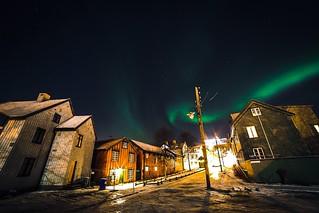 Northern lights at Tromsø downtown