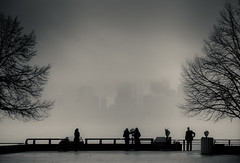 View of Manhattan from Liberty Island (Norto) Tags: nyc newyorkcity bw mist newyork misty fog clouds contraluz liberty view manhattan foggy bn nubes nublado neblina mirador libertyisland nuevayork missliberty norto
