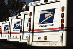 Ladies and Gentlemen, Start your Shipping! (.sanden.) Tags: california ca door blue red white metal logo handle back mail eagle sonoma mirrors dirty vehicles service vans parked postal usps van shipping untied canon40d
