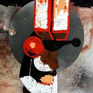José Manuel Ciria. Asignado a una mision visual. Serie The London Boxes - Jardín Perverso VI. 2014. Óleo sobre lona plástica. 200 x 200 cm.