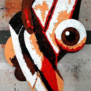 José Manuel Ciria. Signos privados - Signos públicos. Serie The London Boxes Jardín Perverso VI. 2014. Óleo sobre lona plástica. 200 x 200 cm